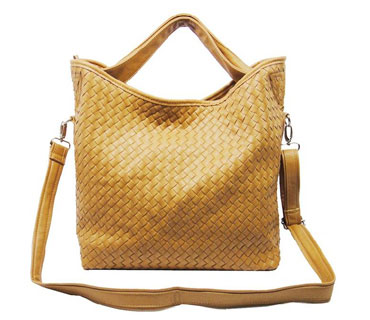 Weaved Pu leather tote bag with long adjustable long strap