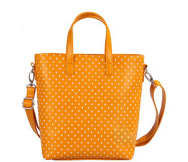 Dots print cow leather tote